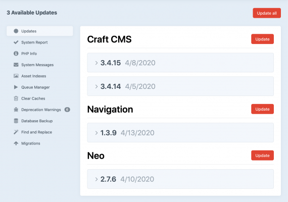 craft updates available